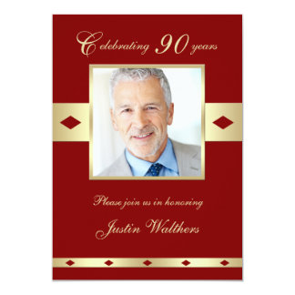 90th Photo Birthday Party Invitation Burgundy 90