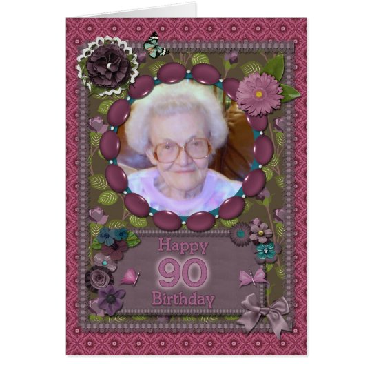 90th Photo card for a birthday