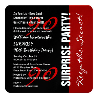 90th SURPRISE Birthday Black Red Metallic Paper Card