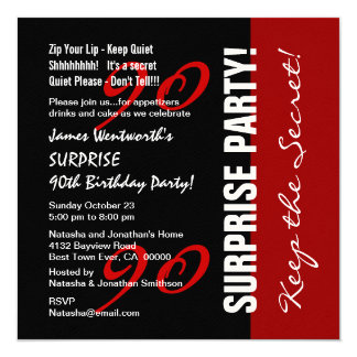90th SURPRISE Birthday Black Red White Felt Paper Card