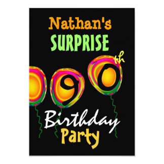 90th SURPRISE Birthday Party Balloons Invitation