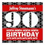 90th Surprise Birthday Party Black Red White Personalized Invites