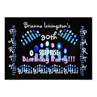 """90th SURPRISE Birthday Party Candles Invitation 5"""" X 7"""" Invitation Card"""