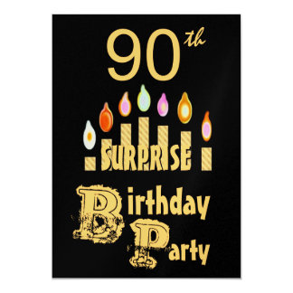 "90th SURPRISE Birthday Party Invitation - GOLD 5"" X 7"" Invitation Card"