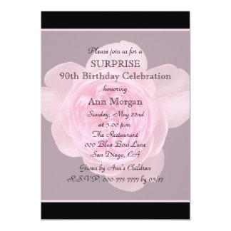 90th Surprise Birthday Party Invitation Rose