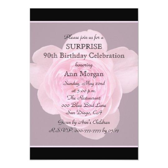 90th Surprise Birthday Party Invitation Rose Flora