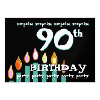 "90th SURPRISE Birthday Party Invitation Template 5"" X 7"" Invitation Card"