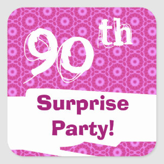 90th Surprise Birthday Party Pink Pattern Template Square Sticker