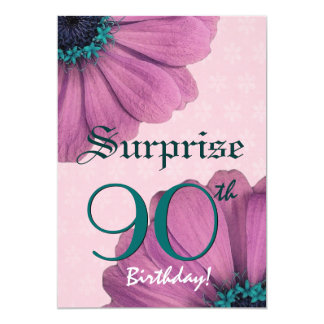 90th Surprise Birthday Pink Daisies Recycled v2 Card