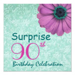 """90th SURPRISE Birthday Pink Teal Daisy Recycled 5.25"""" Square Invitation Card"""