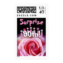 90th SURPRISE Birthday with Rose & Candles Postage