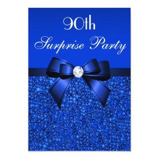 90th Surprise Party Royal Blue Sequins and Bow Card