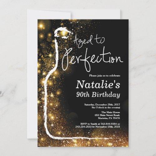 90th Wine Birthday Invitation Aged to Perfection Invitation