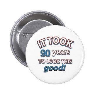 90th year birthday designs 2 inch round button