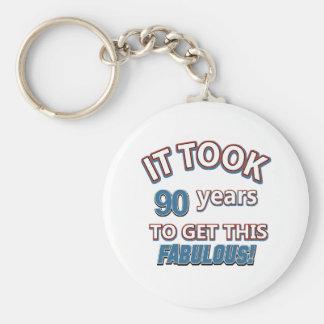 90th year birthday designs key chains