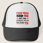 """90th year old birthday gifts trucker hat<br><div class=""""desc"""">Funny 90 year old fake news designs will make a good gag for the 90 year old at their birthday party</div>"""
