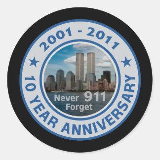 911 10 Year Anniversary Classic Round Sticker