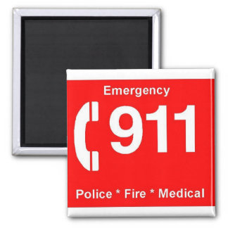 911 2 INCH SQUARE MAGNET