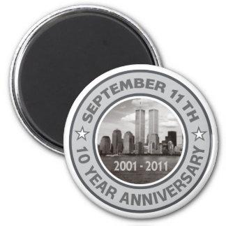 911 aniversario de 10 años imán redondo 5 cm