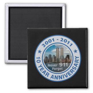 911 aniversario de 10 años imán cuadrado