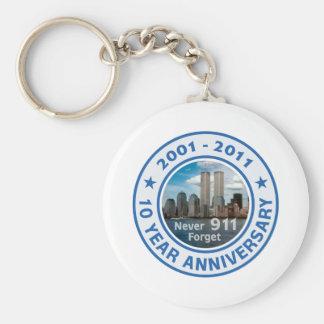 911 aniversario de 10 años llavero redondo tipo pin
