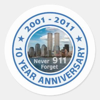 911 aniversario de 10 años pegatina redonda
