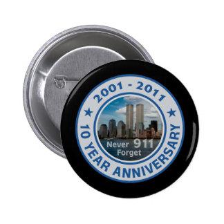 911 aniversario de 10 años pin redondo 5 cm