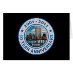 911 aniversario de 10 años tarjeta de felicitación