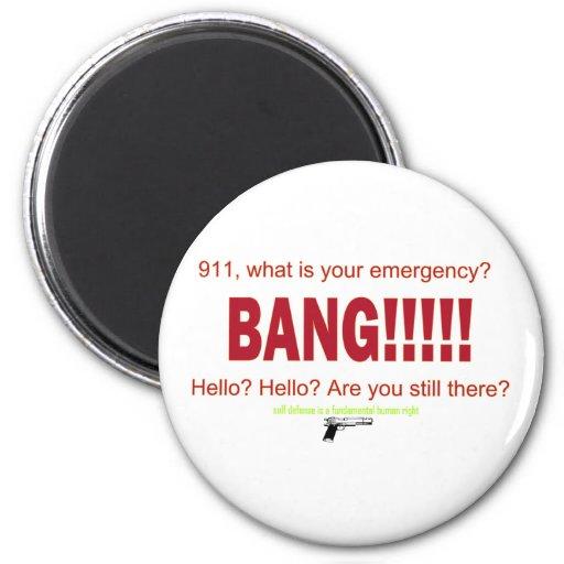 ¿911, cuáles es su emergencia? imán redondo 5 cm