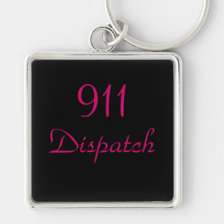 911 Dispatch Center Silver-Colored Square Keychain