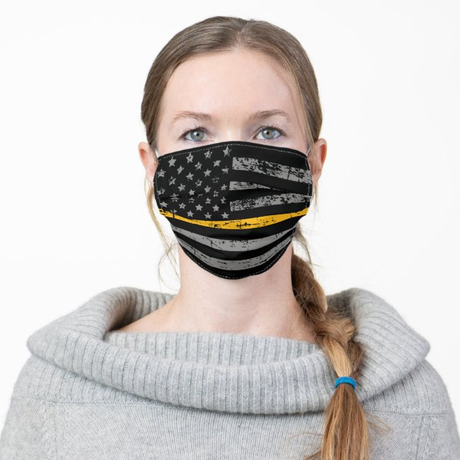 911 Dispatcher Thin Gold American Flag Adult Cloth Face Mask