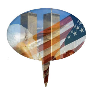 911 eagle flag towers cake topper