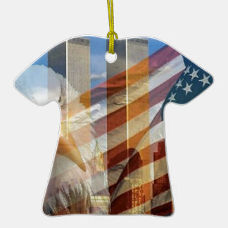 911 eagle flag towers Double-Sided T-Shirt ceramic christmas ornament
