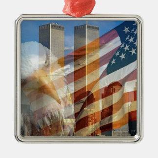 911 eagle flag towers square metal christmas ornament