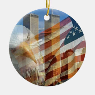 911 eagle flag towers Double-Sided ceramic round christmas ornament