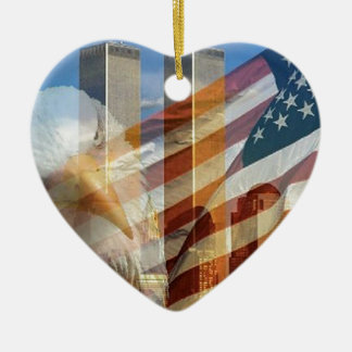 911 eagle flag towers Double-Sided heart ceramic christmas ornament