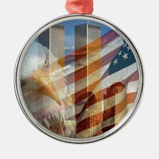 911 eagle flag towers round metal christmas ornament