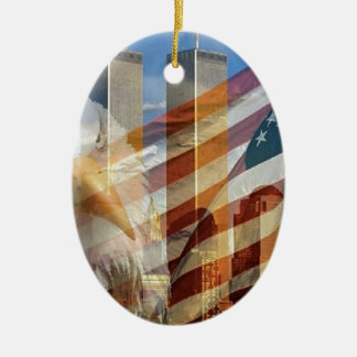 911 eagle flag towers Double-Sided oval ceramic christmas ornament
