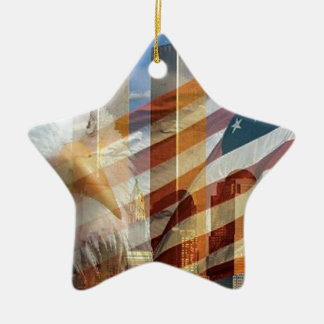 911 eagle flag towers Double-Sided star ceramic christmas ornament
