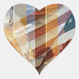 911 eagle flag towers heart sticker