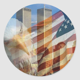 911 eagle flag towers classic round sticker
