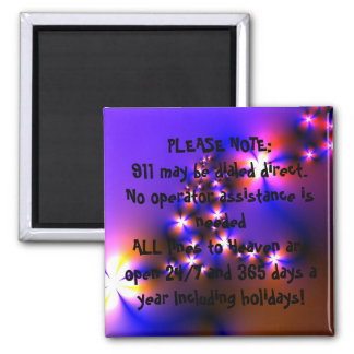 911 EMERGENCY Inspirational Christian Quote Art 2 Inch Square Magnet