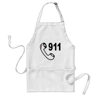 911 EMERGENCY PHONE NUMBER MEDICAL HELP SHOUTOUT APRONS