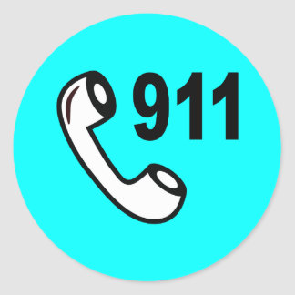 911 EMERGENCY PHONE NUMBER MEDICAL HELP SHOUTOUT CLASSIC ROUND STICKER