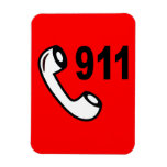 911 EMERGENCY PHONE NUMBER MEDICAL HELP SHOUTOUT RECTANGULAR MAGNETS