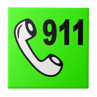 911 EMERGENCY PHONE NUMBER MEDICAL HELP SHOUTOUT SMALL SQUARE TILE