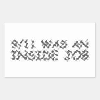 911 eran un trabajo interior, burbuja pegatina rectangular