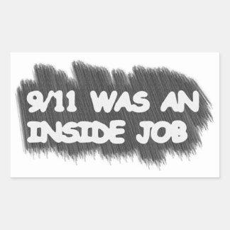 911 eran un trabajo interior pegatina rectangular