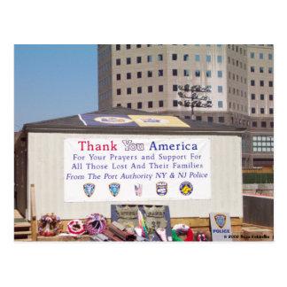 911 Ground Zero Thank You America Postcard