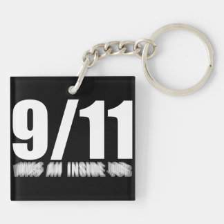 911 inside job Double-Sided square acrylic keychain